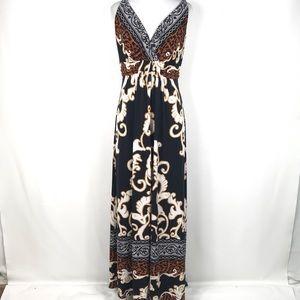 Soma maxi dress black white brown paisley size S